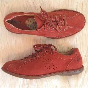 Born Shoes - Born | Tania Red Sueded Leather Lace Up Shoes